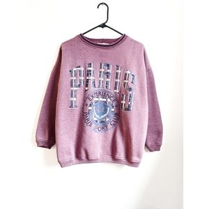 Vintage 90s Pink/Plaid Paris Crew Neck Sweatshirt